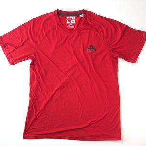 Men's red adidas workout T-shirt